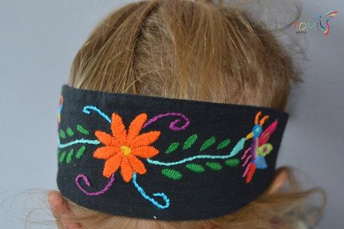 Embroidered Headband Otomi - Black