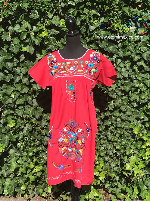 puebla mexican dress red