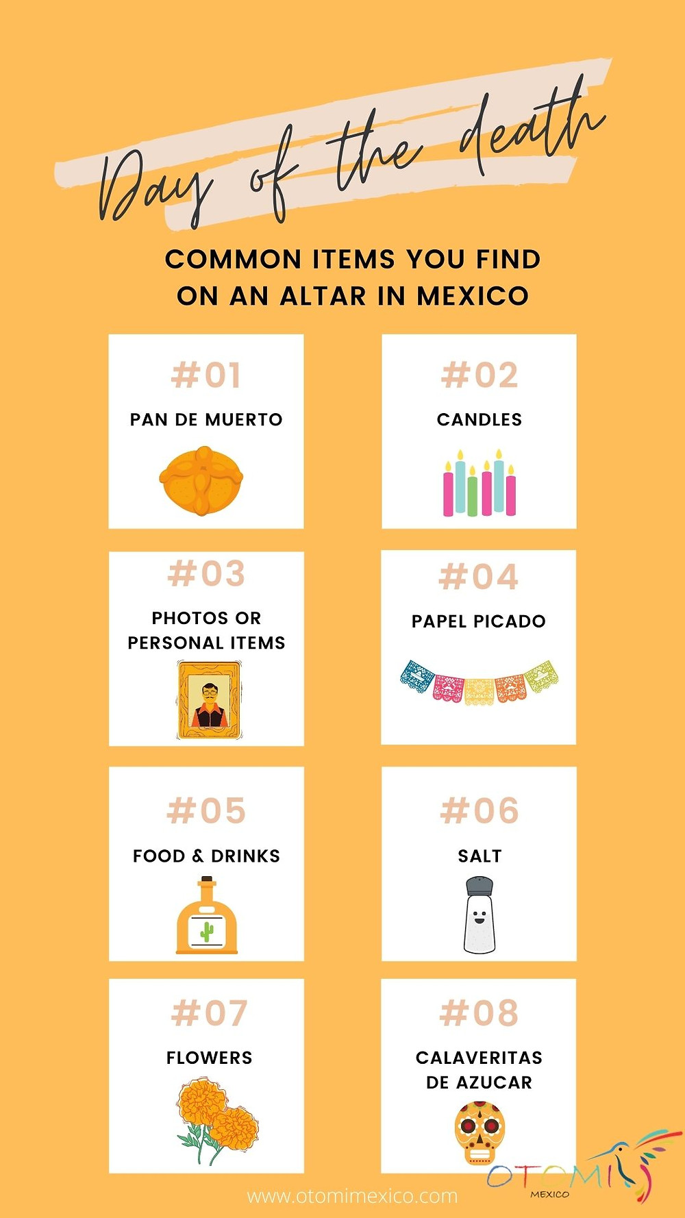 Altar elements for day the dead in mexico