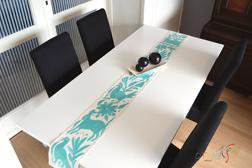 Turquoise Mexican table runner with animal design