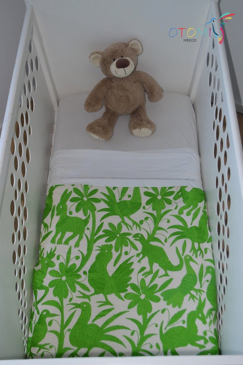 Muslin baby blanket in green with hand embroidered animal design