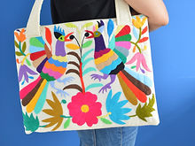otomi bag hand embroidered with colorful birds and flowers
