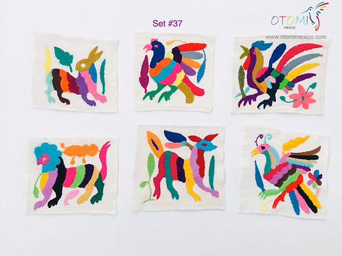 Fabric coasters in Multicolor  | Otomi Mexico Coasters