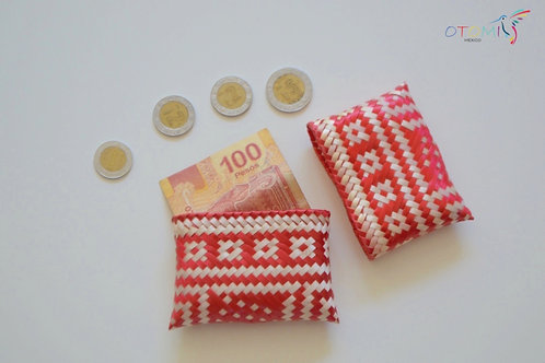 Straw Mexican Coin purse - Red