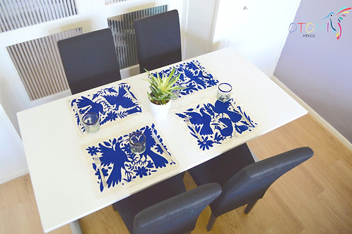 Set of 4 Blue Fabric Placemats  made of Otomi fabric