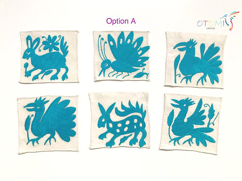 Mexican Coasters in light blue | Embroidered table coasters