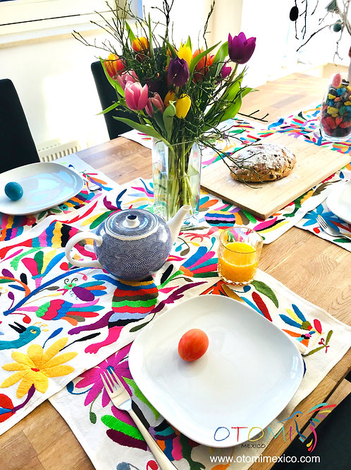 Mexican Table Runner with embroidered animal design