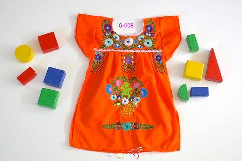 Mexican Girl Dress Orange - Victoria