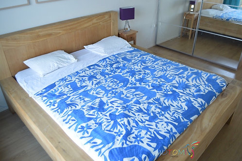 Otomi Embroidery Tenango in blue with animal designs