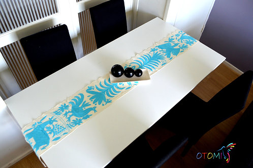 Embroidered table runner | Light Blue