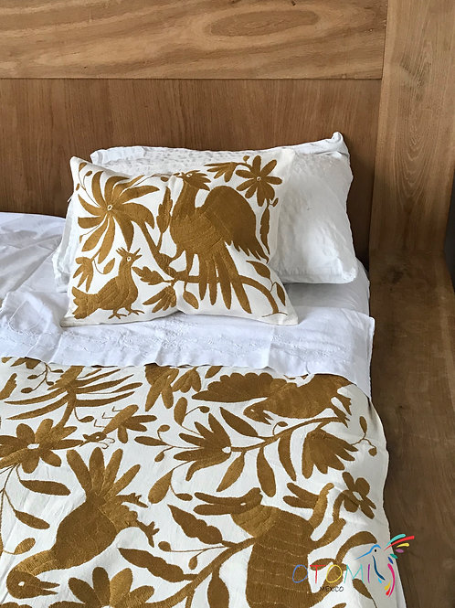 Mexican Embroidery Blanket in gold with animal design
