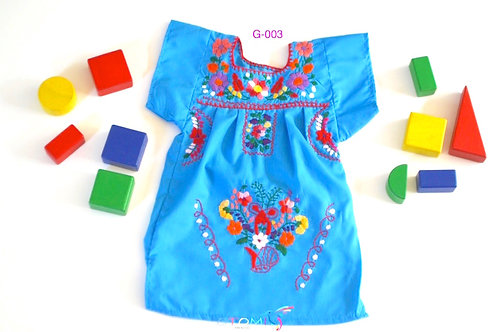 Mexican Girl Dress in light blue - Erica