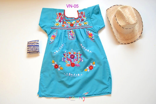 Mexican Dress in turquoise  - Lola