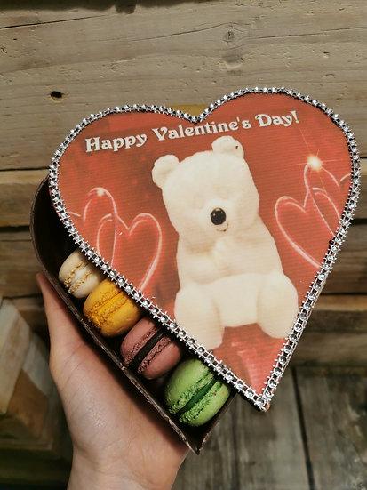 Chocolate heart box with 10 macarons