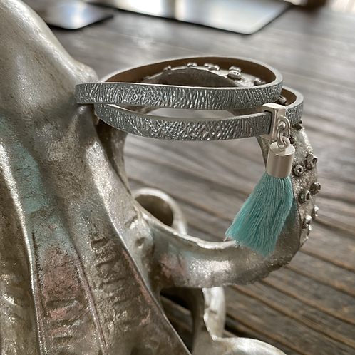 Blue and Silver Leather Look Wrap Bracelet