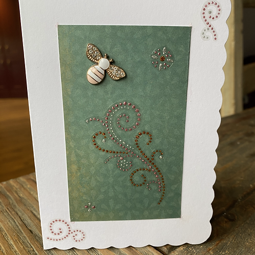 Pink and White Charm Bee Card V5