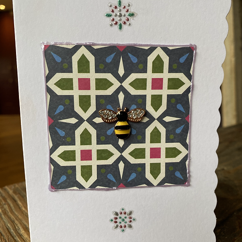 Stain Glass Window Yellow Bee Card V2