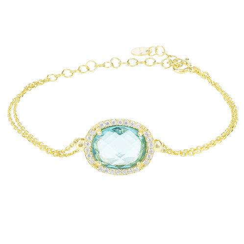 Beatrice Oval Gemstone Bracelet Gold Blue Topaz Hydro
