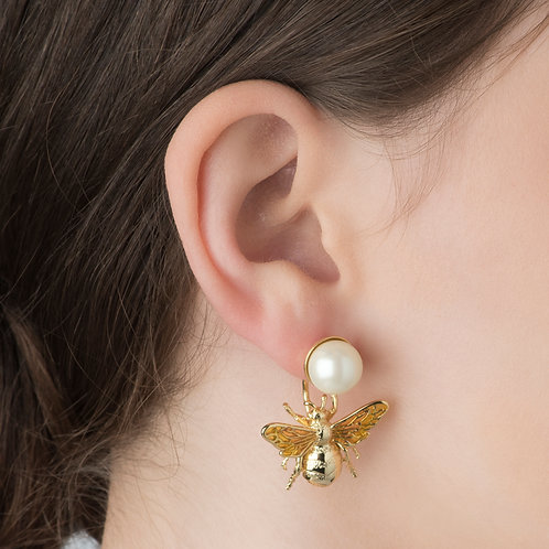 Queen Bee Pearl Drop Earrings