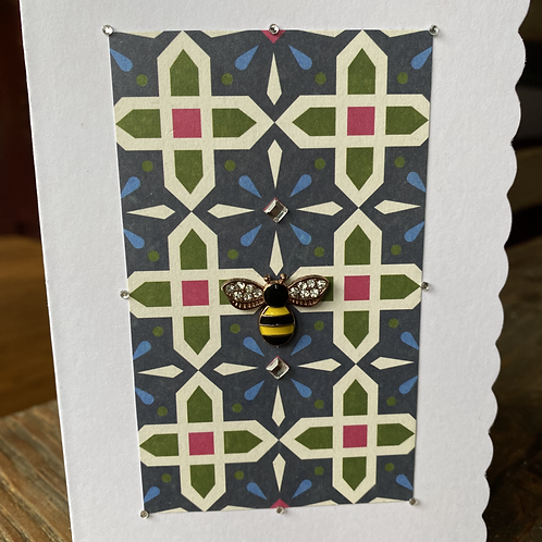 Stain Glass Window Yellow Bee Card V5