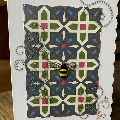 Stain Glass Window Yellow Bee Card V1