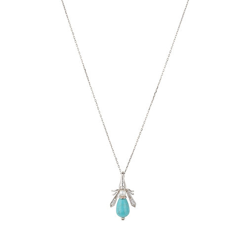 Turquoise & Pearl Honey Bee Necklace Silver
