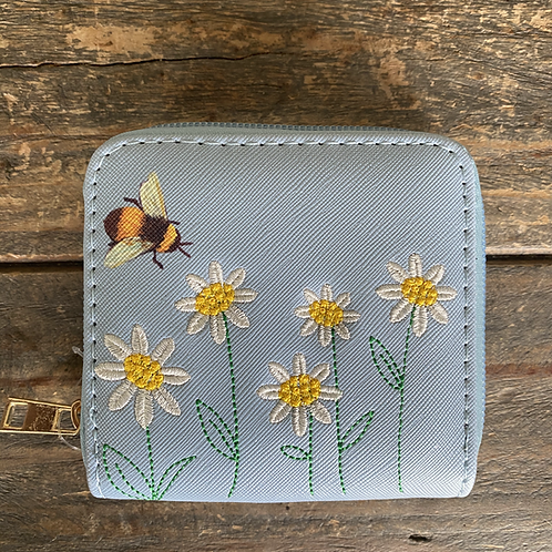 Blue Bee Print & Daisy Embroidered Purse