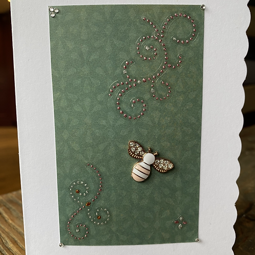 Pink and White Charm Bee Card V4
