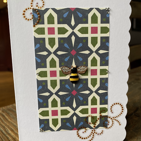 Stain Glass Window Yellow Bee Card V3