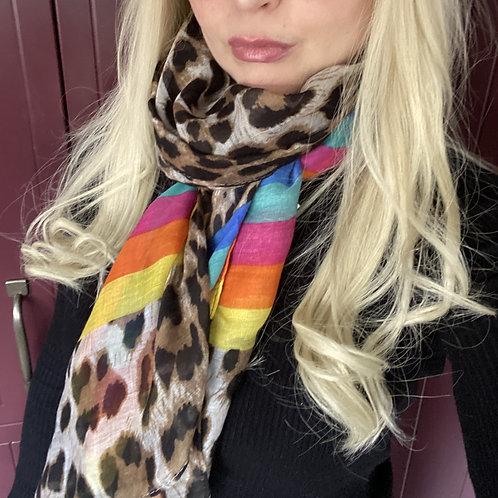 Animal Print and Rainbow Scarf