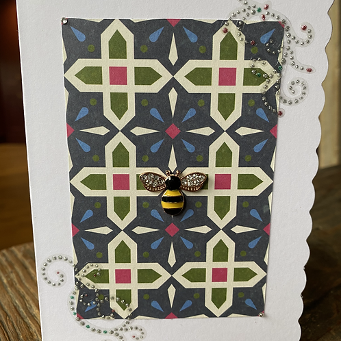 Stain Glass Window Yellow Bee Card V4