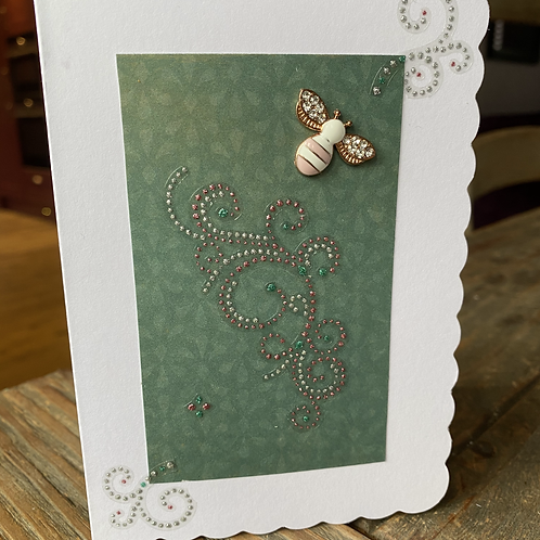 Pink and White Charm Bee Card V3