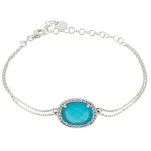 Beatrice Oval Gemstone Bracelet Silver Dark Blue Chalcedony