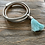 Thumbnail: Blue and Silver Leather Look Wrap Bracelet