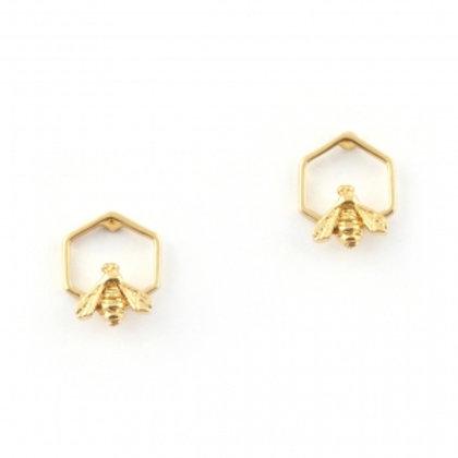 Hexagon Bee Studs