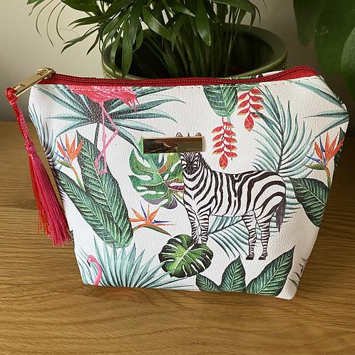Zebra Jungle Print Large Make Up Bag
