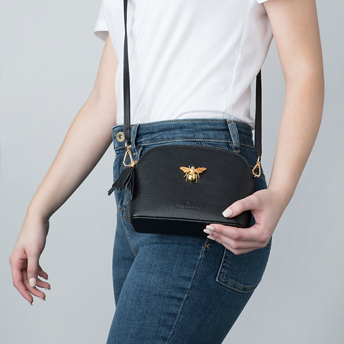 Queen Bee Italian Leather Handbag - Black