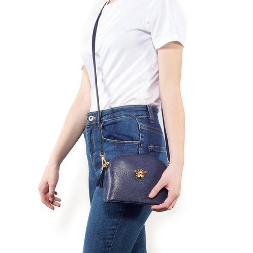 Queen Bee Italian Leather Handbag - Navy