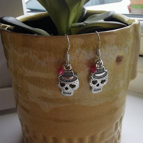 Silver Sugar Skull Earrings with pink bead