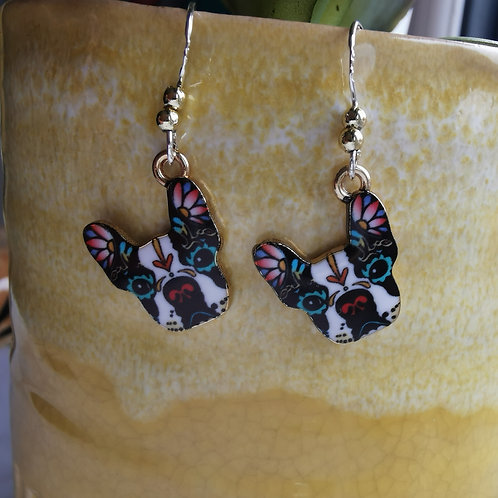 Mexican Frida Style French Bulldog Earrings