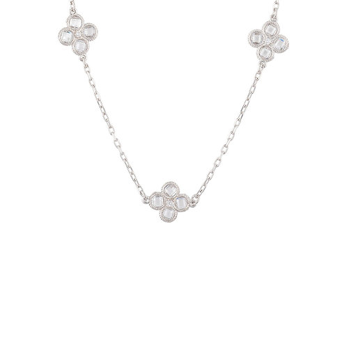 Flower Clover Triple Choker Necklace Silver
