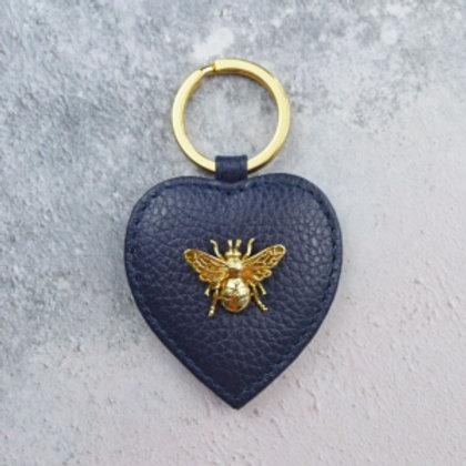 Queen Bee Italian Leather Keyring - Navy
