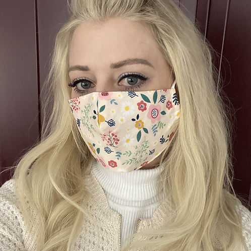 100% Cotton Ivory Floral Face Mask with Pocket Insert