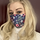 Thumbnail: 100% Cotton Blue Floral Face Mask with Filter Insert