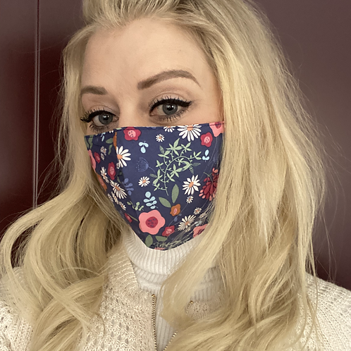 100% Cotton Blue Floral Face Mask with Filter Insert