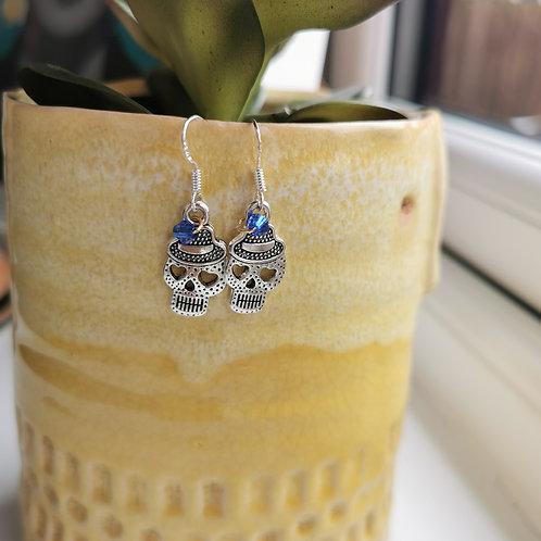 Silver Sugar Skull Earrings with blue bead