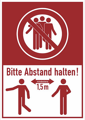Bitte mind. 1,5 Meter Abstand halten!