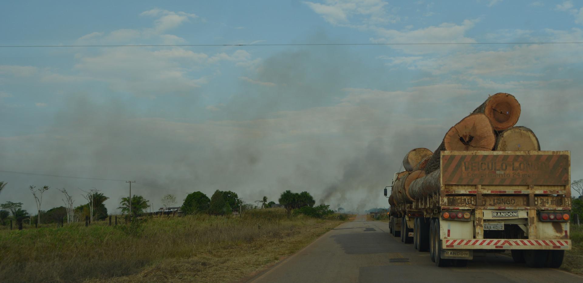queimadas ao longo da estrada AC-90