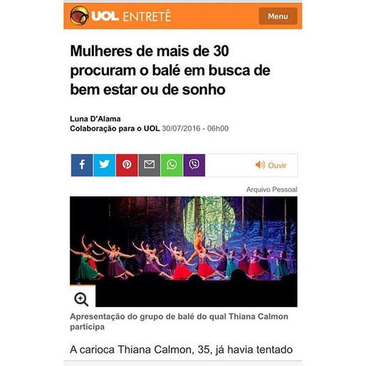 Eu, Bailarina vira notícia