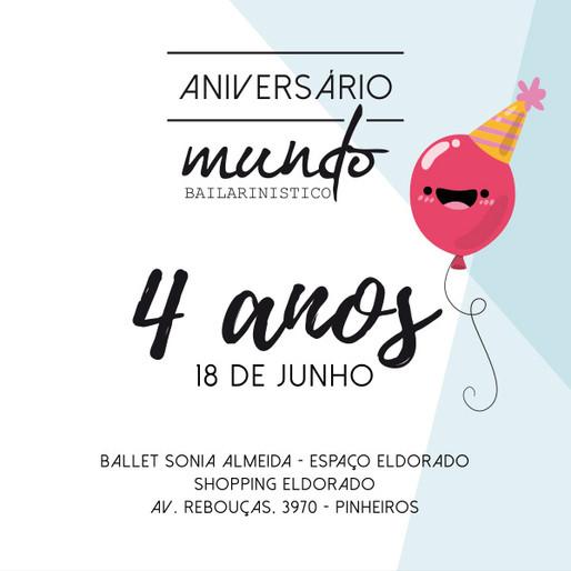 Aniversário do Blog Mundo Bailarinístico - 4 anos!